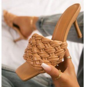 Nude Braided Strap Mules